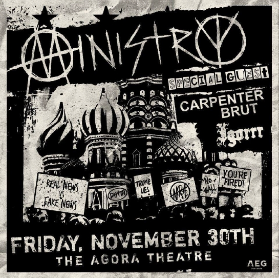 Ministry to return to the Cleveland Agora Nov 30th