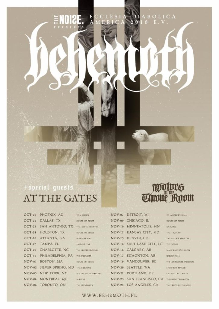 BEHEMOTH To Kick Off North American Tour With Special Guests At The Gates And Wolves In The Throne Room This Weekend