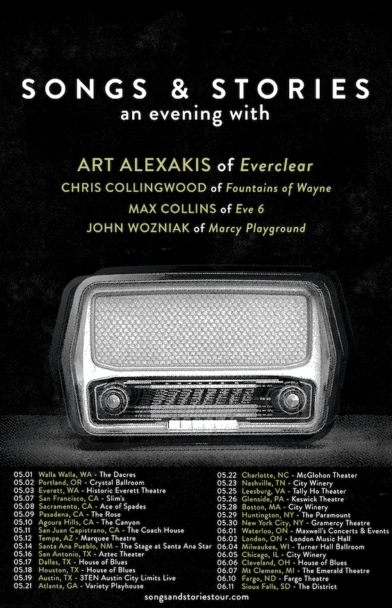 ART ALEXAKIS OF EVERCLEAR ANNOUNCES SONGS & STORIES TOUR FEATURING CHRIS COLLINGWOOD (FOUNTAINS OF WAYNE) MAX COLLINS (EVE 6) JOHN WOZNIAK (MARCY PLAYGROUND)