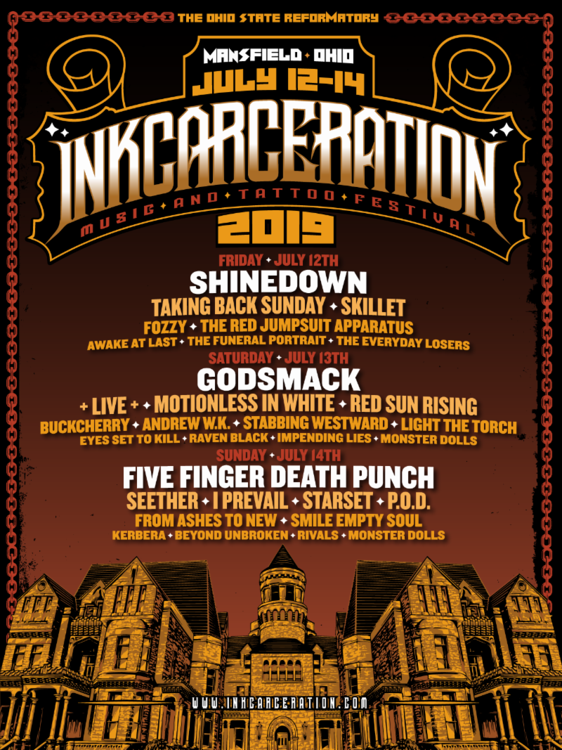 INKCARCERATION Music and Tattoo Festival Reveals Individual Daily Music Line-Ups + Single Day Tickets Available Now