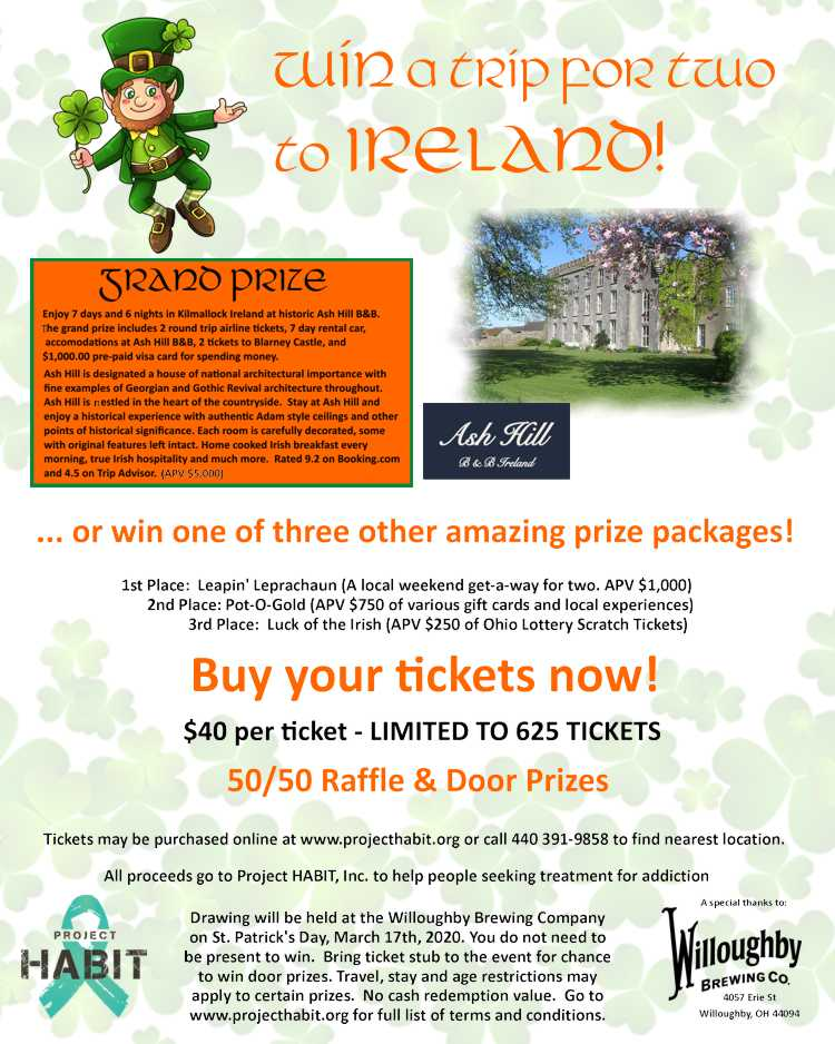 Win a Trip for two to Ireland – all proceeds to go to Project Habit