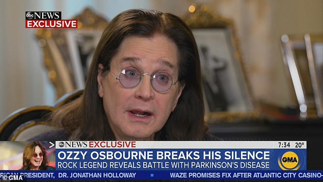 Ozzy reveals on Good Morning America that he has Parkinson's and seeks therapy